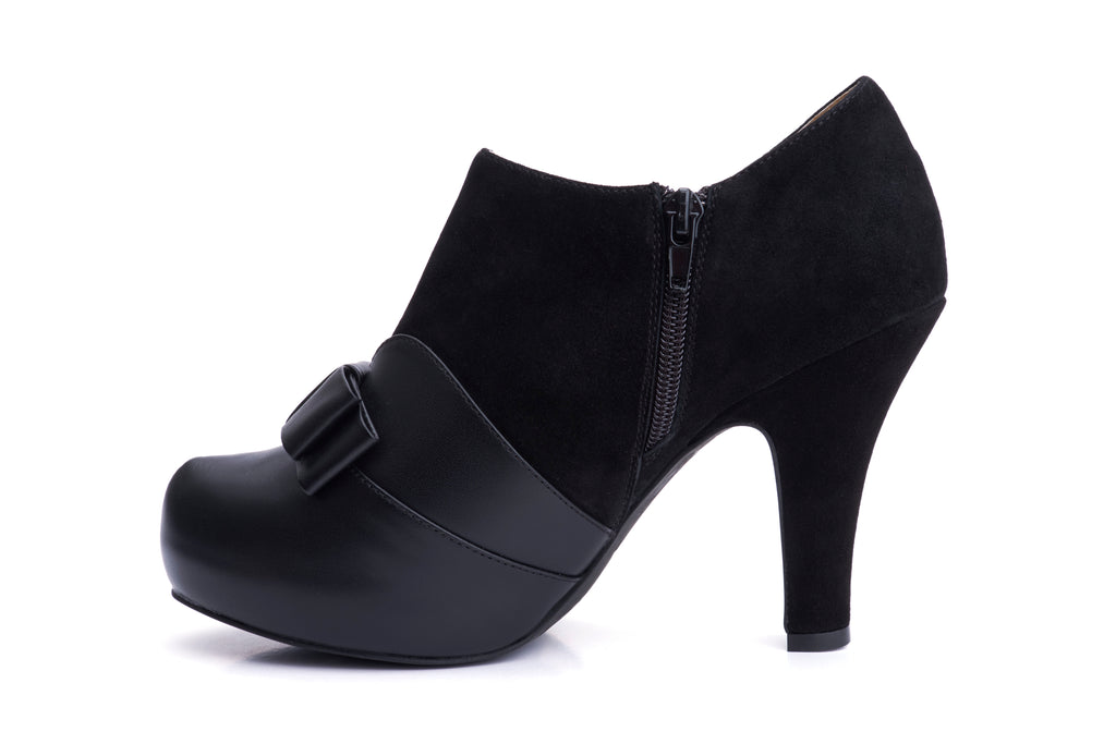 50s Angie Take a Bow Platform Shoe Booties in Black - Inside