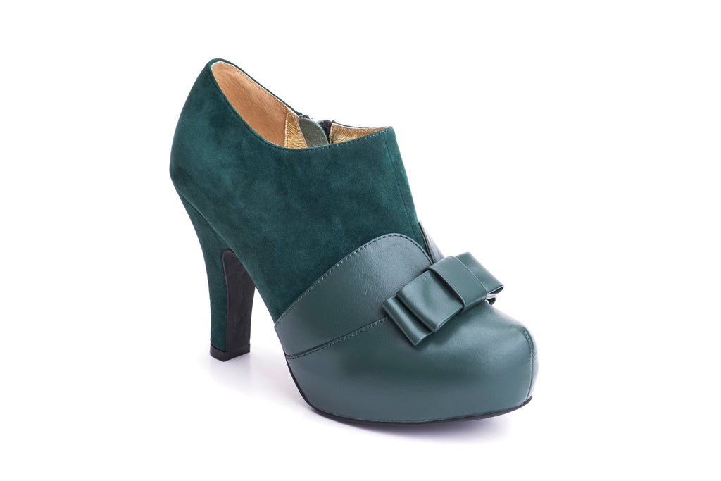 50s Angie Take a Bow Platform Shoe Booties in Bottle Green