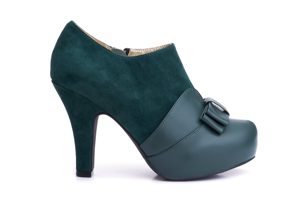 50s Angie Take a Bow Platform Shoe Booties in Bottle Green - Outside