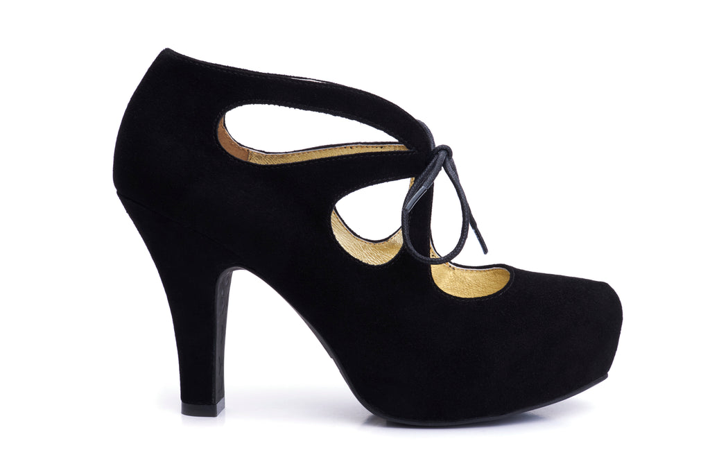 50s Angie Tie The Knot Suede Platform Pumps in Black - Outside