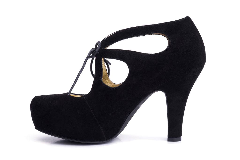 50s Angie Tie The Knot Suede Platform Pumps in Black - Inside