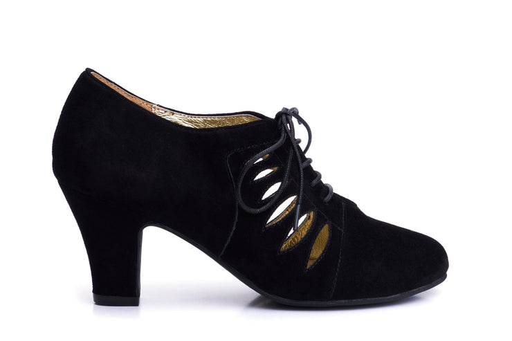Ava All Tied Up Suede Pumps in Black - Outside