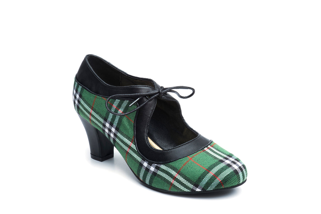 Lola Ramona Shoes - Ava Green Tartan Vegan Heels