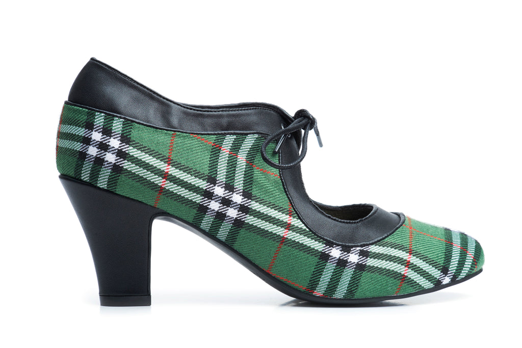 Lola Ramona Shoes - Ava Green Tartan Vegan Heels outside
