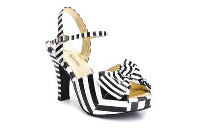 Lola Ramona Shoes Angie Conquerer striped heels black and white Sandals
