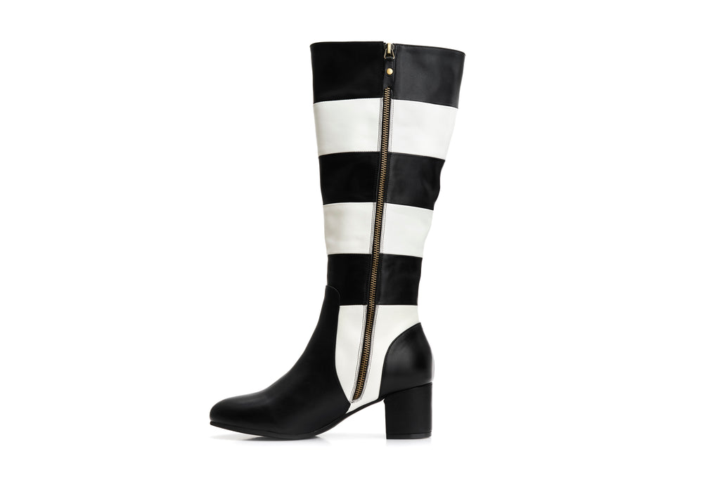 Lola Ramona Shoes - Eve Queen of Hearts - Striped Leather Boots inside