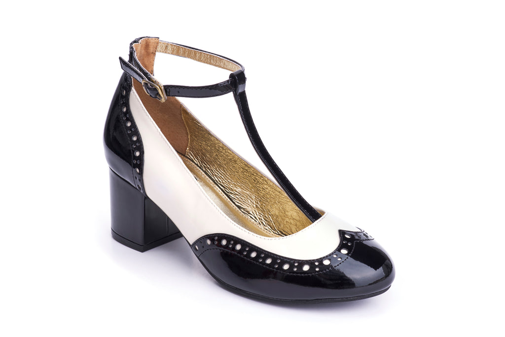 60s Eve Mad For Mod Block Heel Pumps in Black and Cream