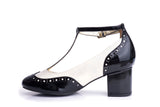 60s Eve Mad For Mod Block Heel Pumps in Black and Cream - Inside