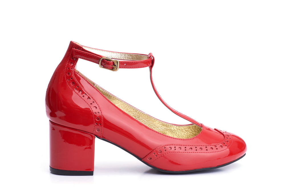 60s Eve Mad For Mod Block Heel Pumps in Burned Red - Outside