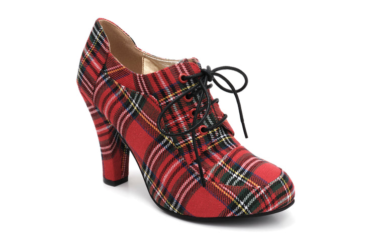 June Tartan VEGAN Ladies lace up heels