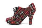 June Tartan VEGAN Ladies lace up heels - Side Profile