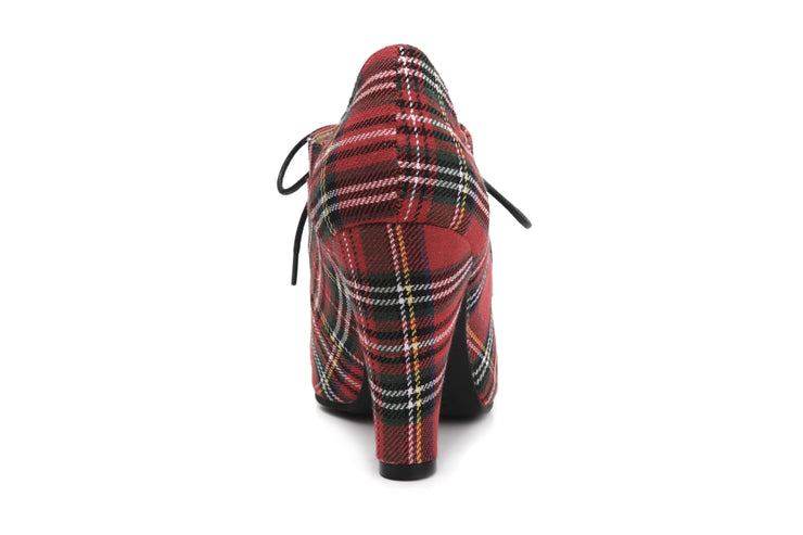 June Tartan VEGAN Ladies lace up heels - Back