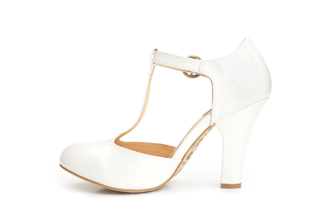 60s June Patent Leather is Always Better T-strap Pumps in Cream