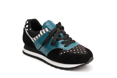 Serena Medley - Blue and black leather sneaker from Lola Ramona