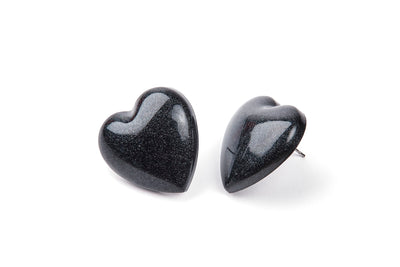 Heart Earrings - Black -