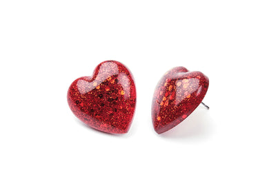 Heart Earrings - Red -