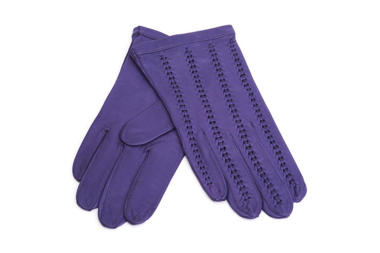 Braided Elegance Gloves - Purple