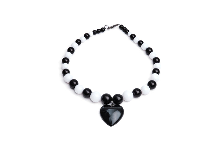 Heart Necklace - Black -