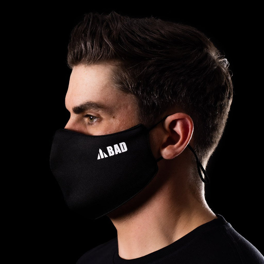 ANTIVIRAL BAD BLACK 3-LAYER REUSABLE HEALTH SAFETY FACE MASK - BAD WORKWEAR