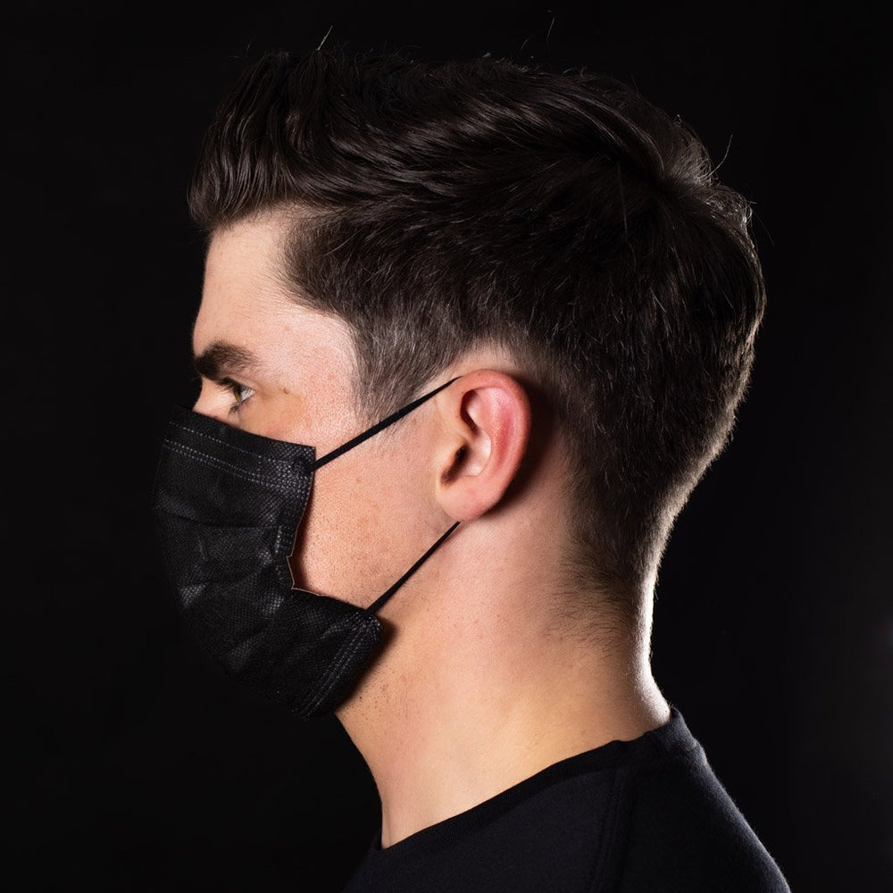 ANTIVIRAL BLACK SURGICAL HEALTH SAFETY FACE MASK (BOX OF 50) - BAD WORKWEAR