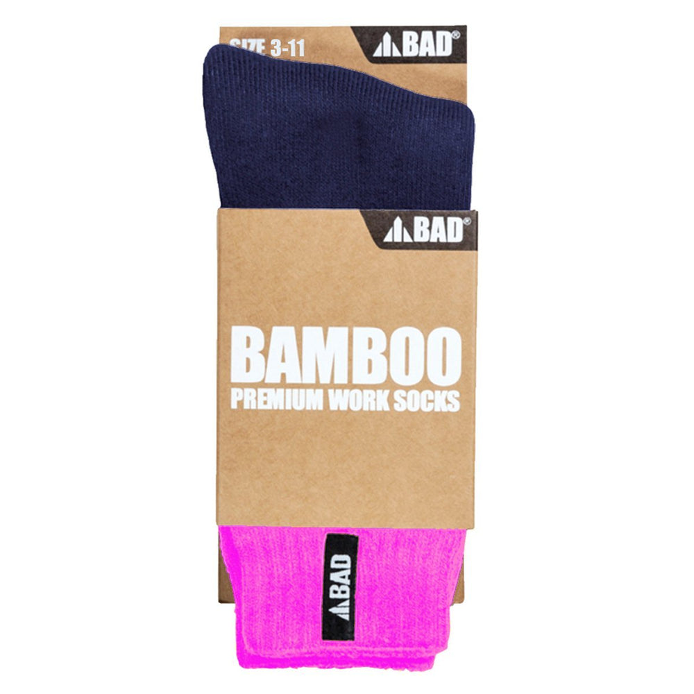 BAD BAMBOO WOMEN'S PINK WORK SOCKS - BAD WORKWEAR