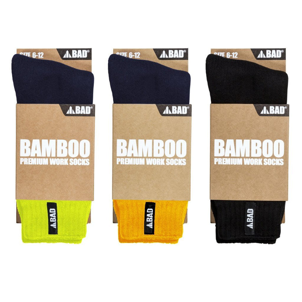 BAMBOO WORK SOCKS (3 PAIRS) - BAD WORKWEAR