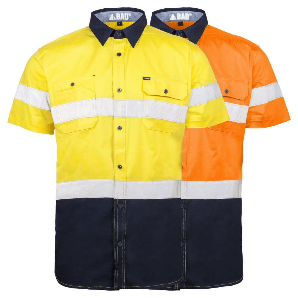STRETCH S/S HI-VIS SHIRT WITH REFLECTIVE TAPE - BAD WORKWEAR