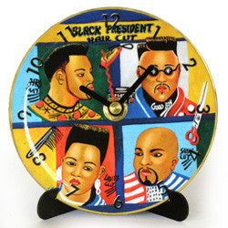 I06 Black President Mini LP Clock