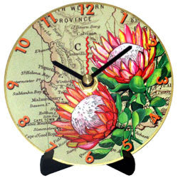 I11 Protea on Map Mini LP Clock