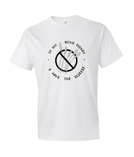 """I'm Not Being Trendy"" - Men's White T-shirt for Celiacs"