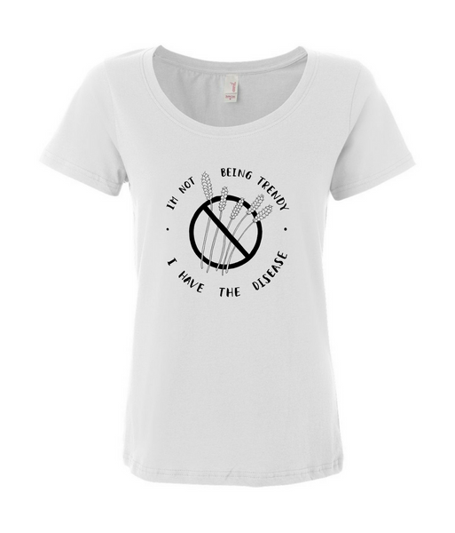 """I'm Not Being Trendy"" - Women's White T-shirt for Celiacs"