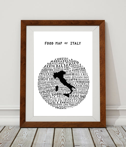 Food Map of Italy - White Poster