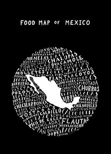 mexico food map black poster