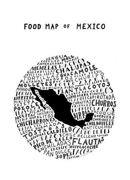 white typographic food poster mexico