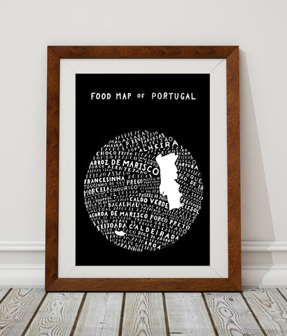 Food Map of Portugal - Black Poster