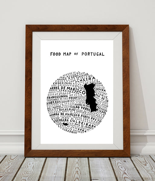 Food Map of Portugal - White Poster