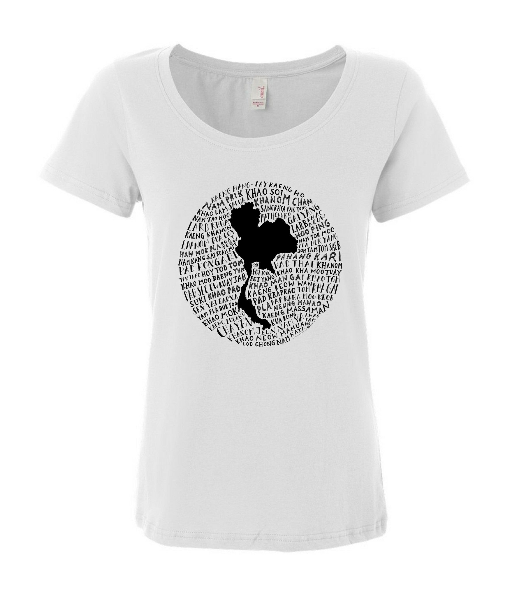 Food Map of Thailand - Women's White Scoop T-Shirt