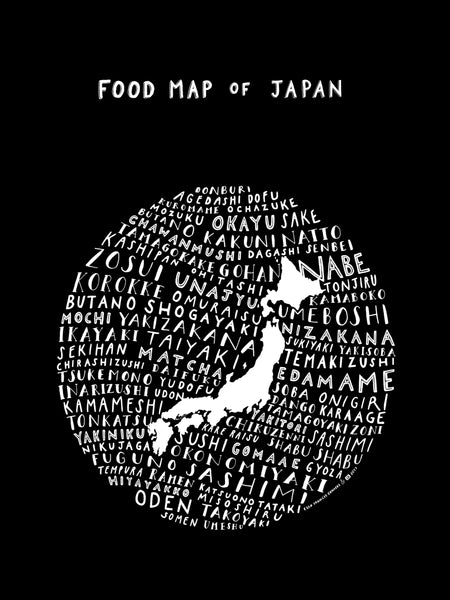 Food Map of Japan - Black Poster