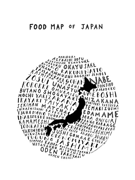 Food Map of Japan - White Poster