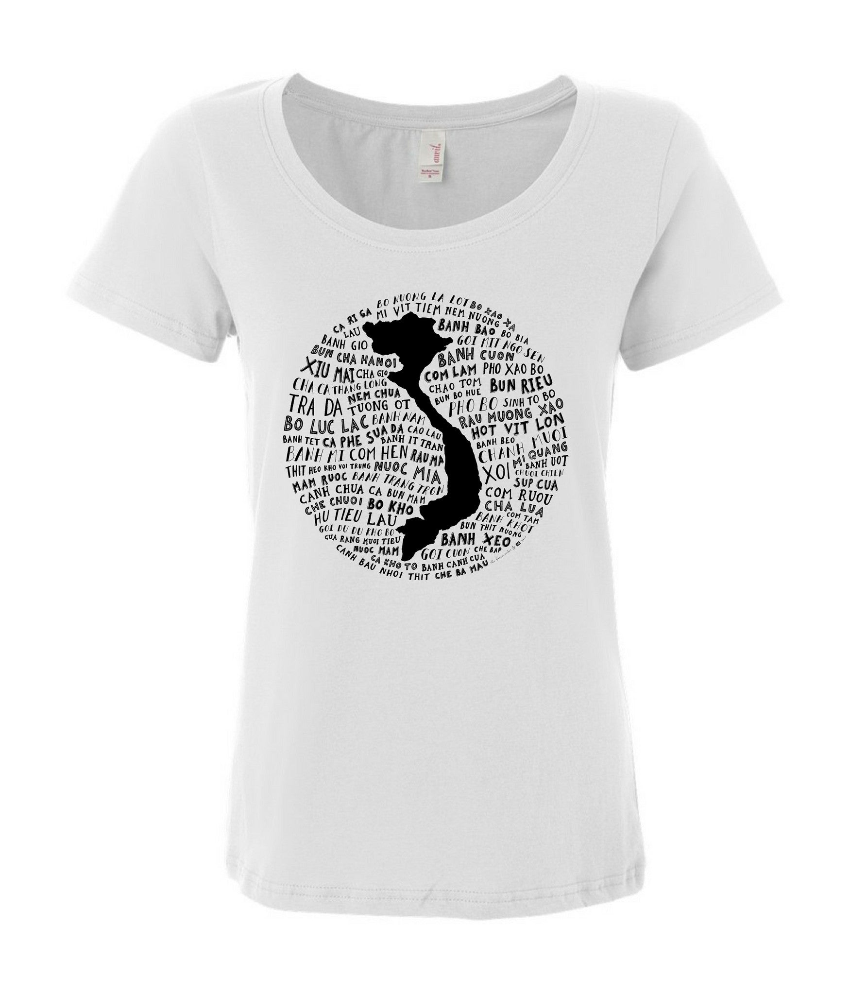 Food Map of Vietnam - Women's White Scoop T-Shirt