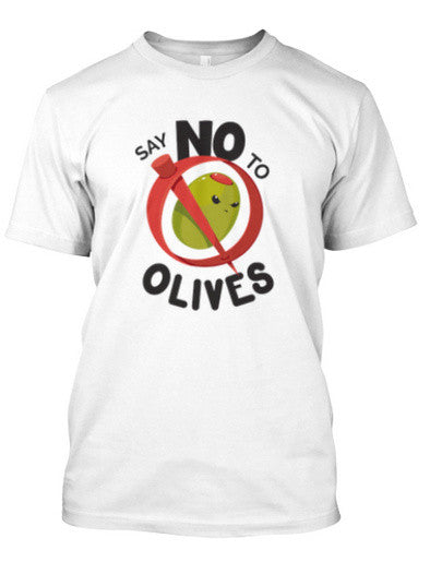 Say No to Olives - Men's White Crew Neck T-shirt