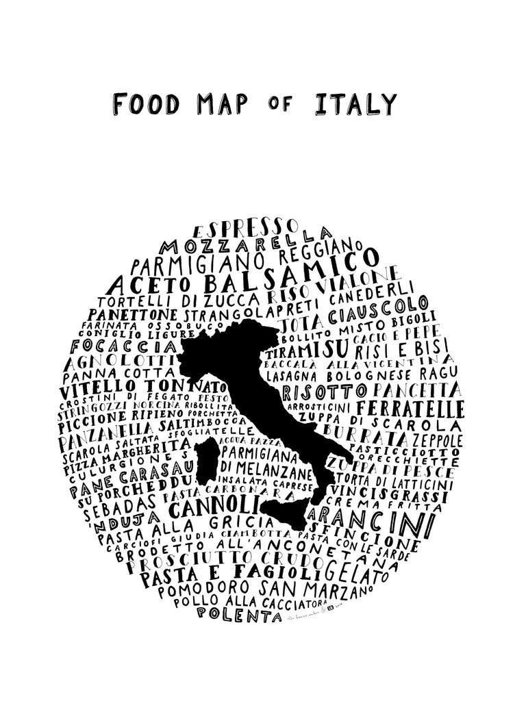 Italy Map Black And White.Typographic Food Map Of Italy White Poster The Legal Nomads Shop