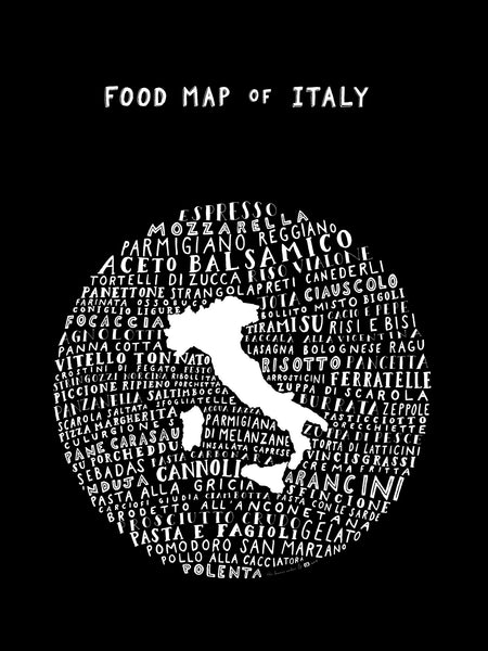 Food Map of Italy - Black Poster
