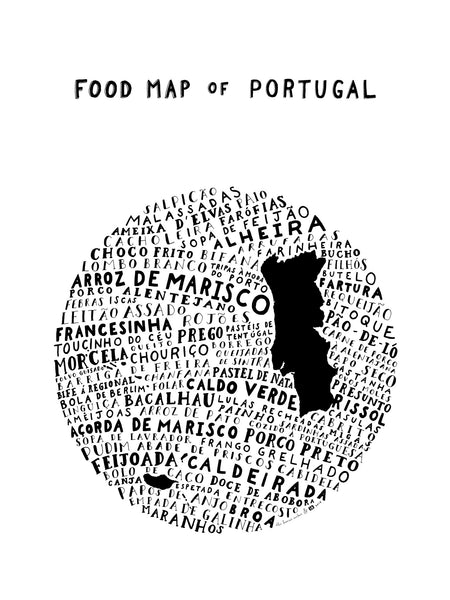 typographic food map of portugal