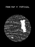 typographic food map of portugal black
