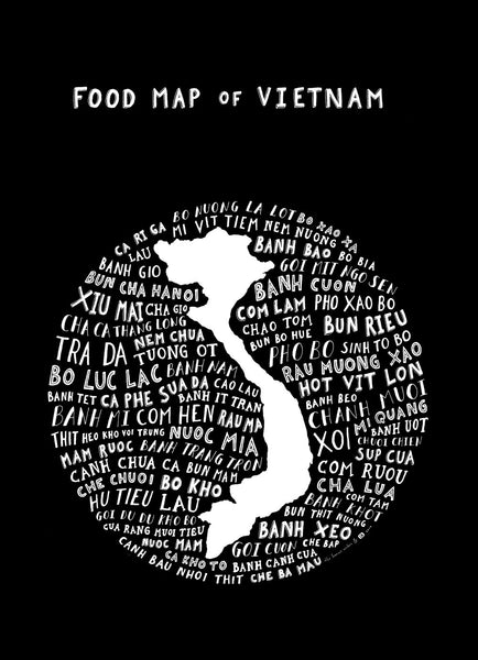 typographic food map vietnam black
