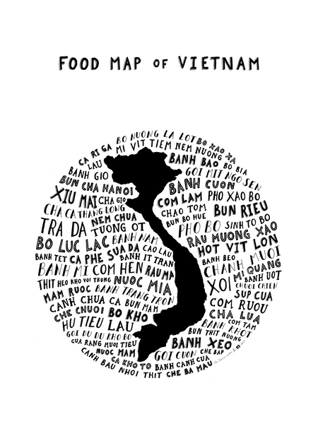 typographic food map vietnam