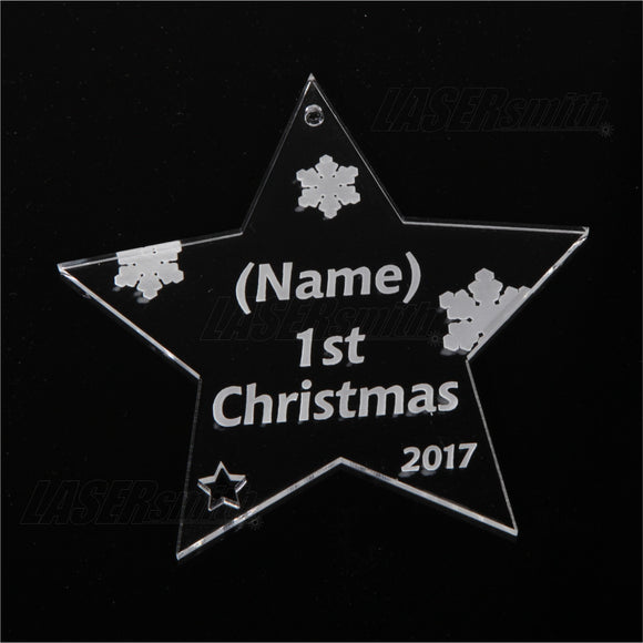 Personalised Acrylic Christmas Tree Decoration - Baby's 1st Christmas Star