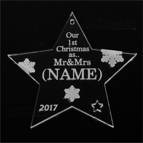 Personalised Acrylic Christmas Tree Decoration - Mr & Mrs Star