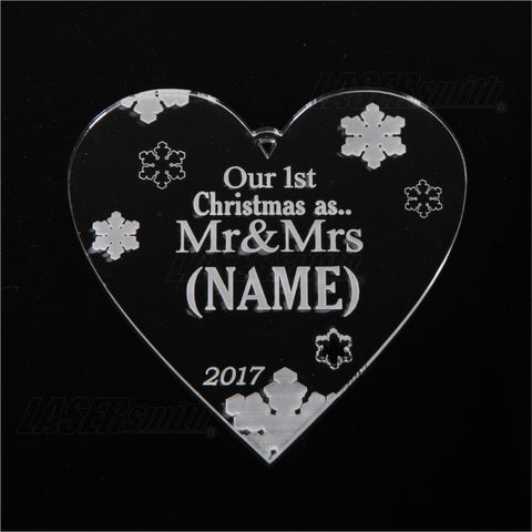 Personalised Acrylic Christmas Tree Decoration - Mr & Mrs Heart